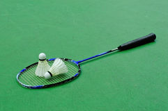 Badminton - dois shuttlecocks na raquete Fotografia de Stock Royalty Free