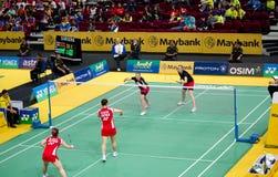 Badminton dos dobros das mulheres Fotos de Stock
