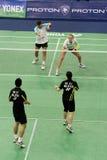 Badminton dos dobros misturados Fotografia de Stock