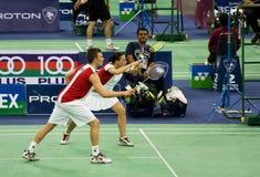 Badminton dos dobros misturados - Bonde & Nielsen Fotografia de Stock