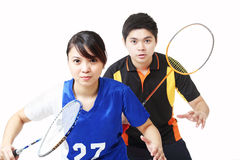 Badminton doubles Stock Images