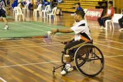 Badminton du fauteuil roulant des hommes photo libre de droits