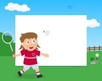 Badminton dziewczyna w Parkowej Horyzontalnej ramie Zdjęcia Stock