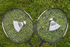 Badminton equipment on grass. Badminton equipment including rackets and two shuttlecocks on grass background royalty free stock photo