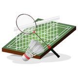 Badminton-Feld und Ball-Vektor-Illustration Lizenzfreie Stockbilder