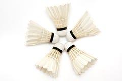 badminton fem shuttlecocks Arkivbilder