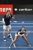 Badminton graczów rudzik Tabeling Halkema i Mayke Zdjęcia Stock