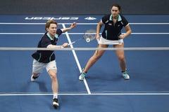 Badminton graczów rudzik Tabeling Halkema i Mayke Obrazy Stock