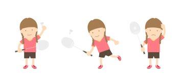 Badminton gracza kobiety akci set Zdjęcia Royalty Free