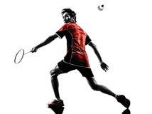 Badminton gracza młodego człowieka sylwetka Obrazy Stock