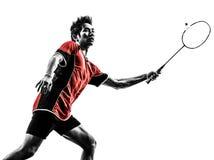 Badminton gracza młodego człowieka sylwetka Zdjęcia Royalty Free