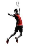 Badminton gracza młodego człowieka sylwetka Obraz Stock