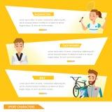 Badminton graphique de sport d'infos, Taekwondo et cavalier de bicyclette illustration libre de droits