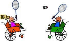 Badminton handicapé de jeu d'enfants Images stock