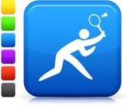 Badminton icon on square internet button Royalty Free Stock Photos