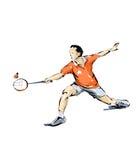 Badminton illustration, man practicing sport Stock Photos