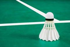 Badminton. Indoor Badminton ball on green Badminton court Royalty Free Stock Photos