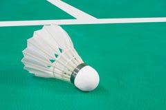 Badminton. Indoor Badminton ball on green Badminton court Stock Photography