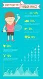 Badminton Infographics-Frauenspieler Vektor Abbildung