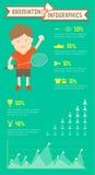 Badminton Infographics-Mannspieler Vektor Abbildung