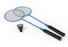 Badminton  kit. 3D render illustration of a badminton kit. The composition is  on a white background with shadows Royalty Free Stock Image