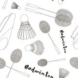 Badminton labels and icons set pattern Stock Image