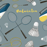Badminton labels and icons set pattern Stock Photos