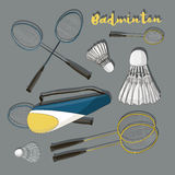 Badminton labels and icons set Royalty Free Stock Image