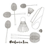 Badminton labels and icons set Stock Photography