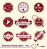 Badminton League Labels and Stickers. Collection of retro style badminton labels and stickers Royalty Free Stock Photo