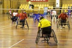 badminton mężczyzna s wózek inwalidzki Zdjęcia Royalty Free