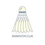 Badminton mit Federn versehene Federballikone Getrennt Kreative Logoschablone für Badmintonverein Lineare Illustration des Vektor Lizenzfreie Stockbilder
