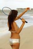 Badminton na praia fotos de stock royalty free