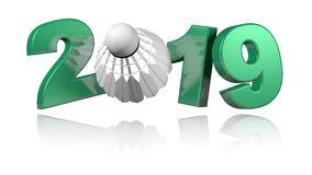 Badminton 2019 ontwerp in oneindige omwenteling vector illustratie