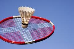 Badminton play closeup and sky blue royalty free stock photo