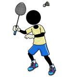 Badminton player. Silhouette-man sport icon - badminton Royalty Free Stock Photography