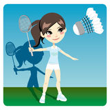 Badminton Player. Young brunette woman playing professional badminton indoors Royalty Free Stock Photos