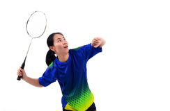 Badminton player in action Royalty Free Stock Photography