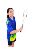 Badminton player in action Stock Images