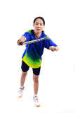 Badminton player in action Royalty Free Stock Photos