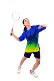 Badminton player in action Royalty Free Stock Images