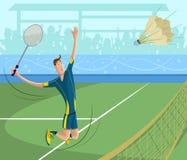 Badminton player. Cartoon style badminton player in vector Stock Image