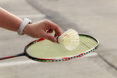 Badminton player hand Stock Photos