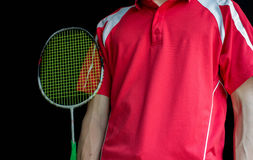Badminton Player. With his racquet Stock Photo