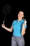 Badminton player holding badminton racket and shuttlecock Royalty Free Stock Photos