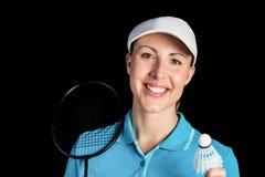 Badminton player holding badminton racket and shuttlecock Stock Image