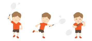 Badminton player man action set Royalty Free Stock Photos