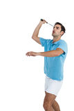 Badminton player playing badminton. On white background Stock Images