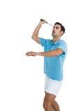 Badminton player playing badminton Stock Images