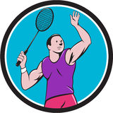 Badminton Player Racquet Striking Circle Cartoon Royalty Free Stock Images